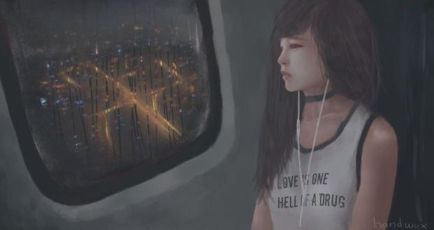 Обои Девушка смотрит в окно внутри самолета (love is one hell of adrug), by handwux