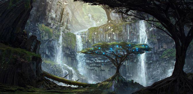 Обои Дерево с голубыми огоньками в листве, растущее в ущелье среди скал с водопадами, by Tim Blandin