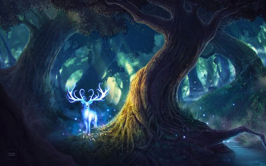 Обои Сияющий магическим голубым светом олень в сказочном лесу, art by Will Marconi