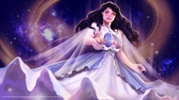 Обои Темноволосая девушка в белом платье, by Felilith
