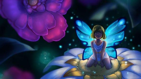 Обои Девушка-бабочка сидит на цветке на фоне другого цветка, by Litchipix