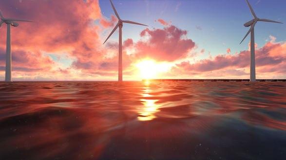 Обои Море и ветряные мельницы на фоне заката