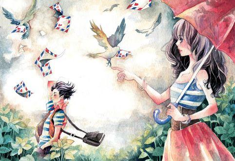 Обои Девушка с красным зонтом протянула руку к голубю с конвертом, by Silent-Voice-Group