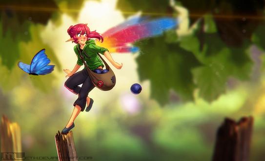 Обои Эльфийка с разноцветными крыльями на размытом фоне, by MLeth