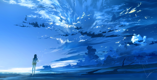 Обои Девочка стоит на фоне облачного неба, by loundraw
