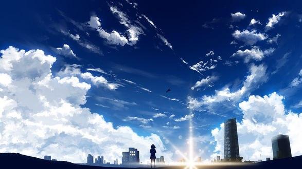 Обои Мицуха Миямизу / Miyamizu Mitsuha из аниме Твое имя / Your Name. / Kimi no Na wa, by Y_Y