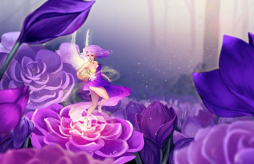 Обои Эльфийка стоит на цветке на фоне других цветов, by DreamerWhit