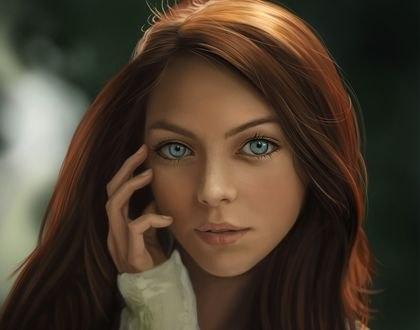 Обои Девушка с голубыми глазами, by Vincent Chu