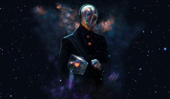 Обои Человек с кубом в руке на фоне космоса, by Dan Luvisi