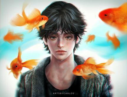 Обои Парень стоит в окружении золотых рыбок, by artsbycarlos