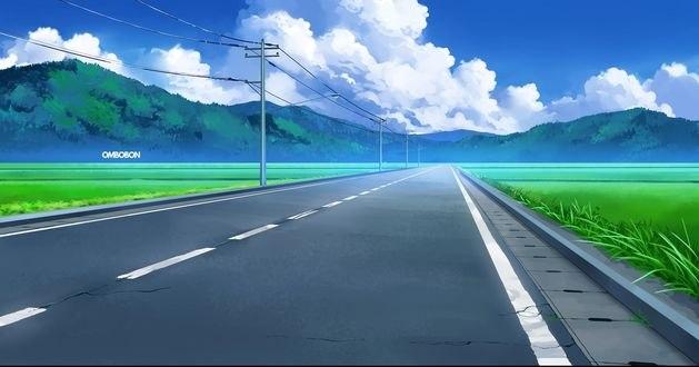 Обои Дорога, идущая вдаль в горы под облаками, by ombobon