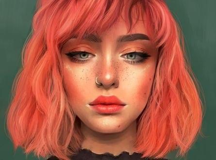 Обои Девушка с яркими волосами и пирсингом в носу, by Tati Moons