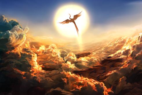 Обои Жар -птица на фоне солнца над облаками, by esuder