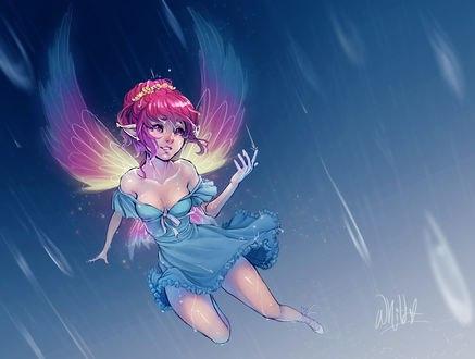Обои Эльфийка с крыльями в голубом платье, by DreamerWhit