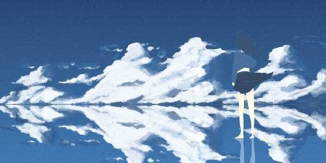 Обои Девушка на фоне неба и облаков, by Jakejk