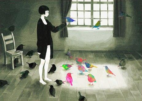 Обои Девушка с птичкой на руке стоит в комнате с птицами, японский иллюстратор Jun Kumaori