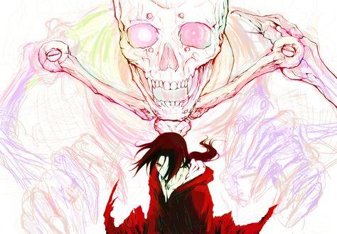 Обои Uchiha Itachi / Учиха Итачи на фоне демона Сусано из аниме Наруто / Naruto