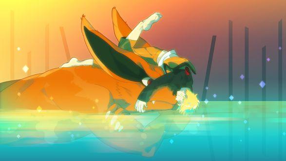 Обои Наруто Узумаки / Naruto Uzumaki лежит на голове у Курамы, сидящего в воде, из аниме Наруто / Naruto
