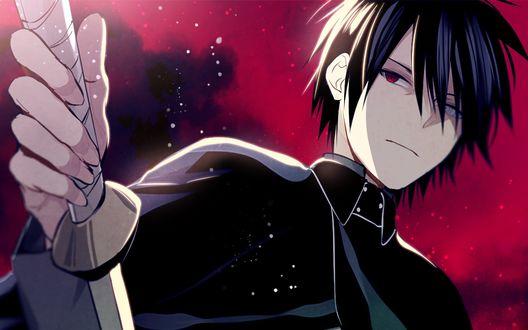 Обои Uchiha Sasuke / Учиха Саске в плаще с катаной из аниме Naruto / Наруто