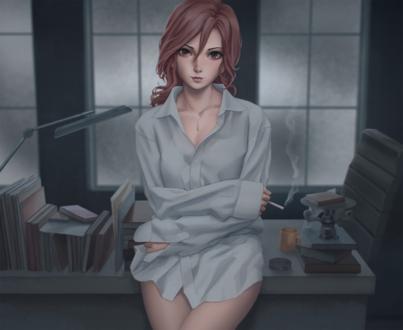 Обои Девушка в мужской рубашке стоит у стола и курит сигарету, by Miura N315