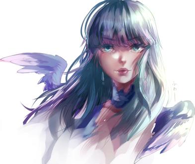 Обои Голубоглазая девушка с крыльями, by EndlessRz
