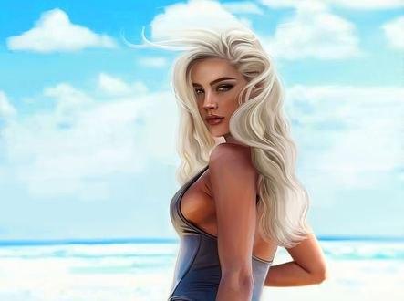 Обои Блондинка в синем купальнике стоит на фоне моря и облачного неба, by Kelly Cox