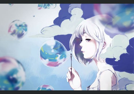 Обои Девушка пускает мыльные пузыри, by mochidukirei