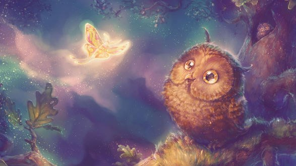 Обои Совенок смотрит на порхающую бабочку, by Fany001