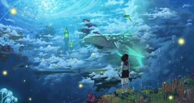 Обои Девушка в школьной форме смотрит на кита в небе в подводном мире, by Tsukinopandaaa