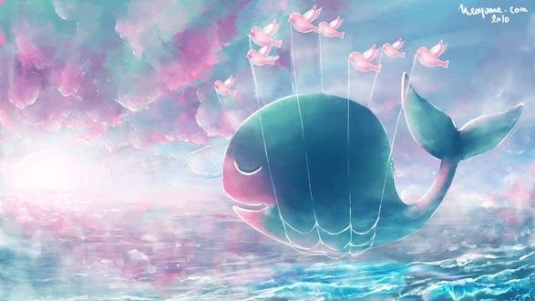 Обои Кит в сетях летящий над морем с птицами в небе, by Neoyume