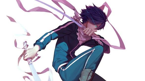 Обои Ято / Yato с двумя катанами из аниме и манги Бездомный бог / Noragami