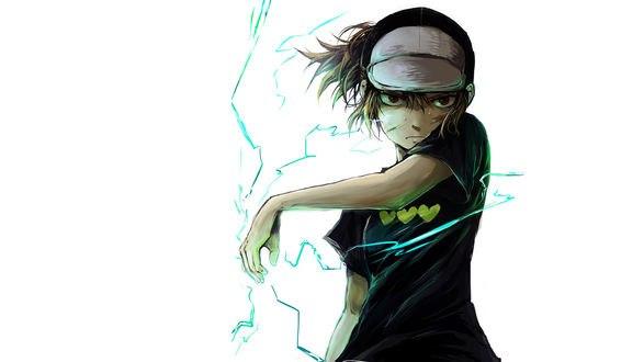 Обои Аниме некий научный рейлган / to aru kagaku no raigun, микото мисака / mikoto misaka с молнией с хвостиками в кепке и темно-зеленой футболке с сердцами