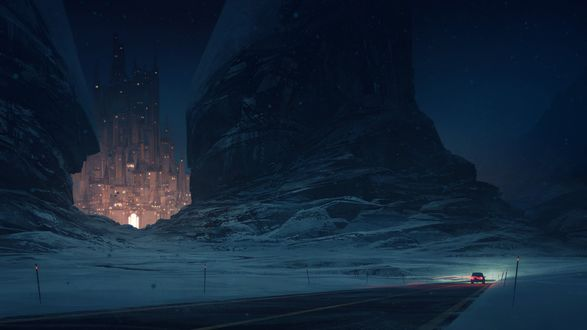 Обои Город-замок среди скал светится в ночи и машина, едущая по трасса в объезд, art by Nikolai Lockertsen