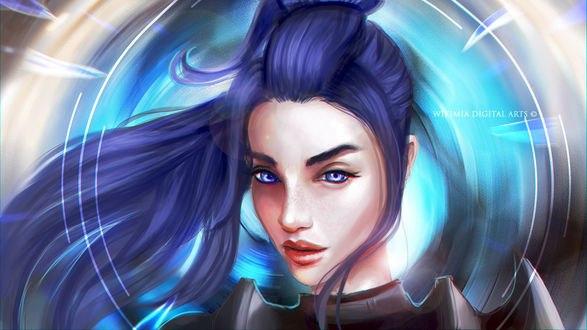Обои Девушка с синими волосами, by WikiMia