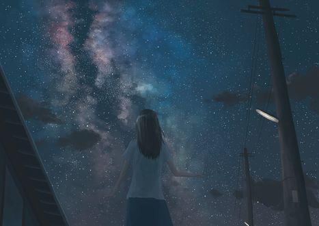 Обои Девушка в школьной форме на фоне ночного неба и млечного пути