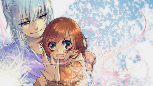 Обои Демон-лис Tomoe / Томое и маленькая Nanami Momozono / Нанами Момозоно смотрит на колечко на пальце из аниме Kamisama Hajimemashita / Очень приятно, Бог