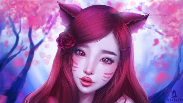 Обои Красноволосая девушка-нэко с алой розой в волосах, by WikiMia