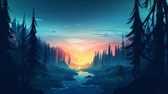 Обои Ранее утро, река протекает вдоль леса, автор Mikael Gustafsson