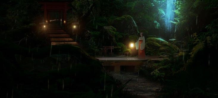 Обои Девушка в косной юбке с маской на лице, с горящим фонарем в руке, стоит на мостике, by asuteroid