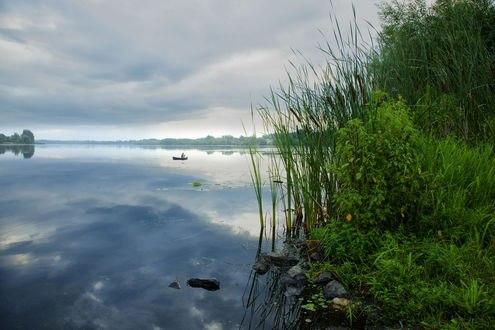 Обои Яркая зелень у озера, на котором рыбачит мужчина в лодке, фотограф Andre Villeneuve