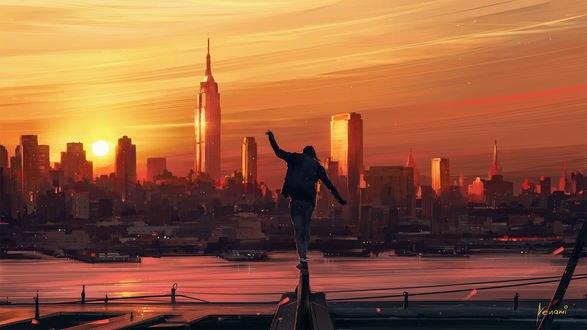 Обои Девушка стоит на периле на фоне города на закате, by Aenami