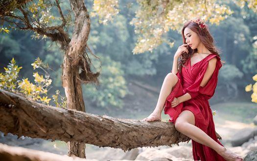 Обои Азиатка в красной тунике сидит на бревне в парке