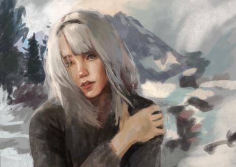Обои Белокурая девушка на фоне гор, by ntrppttprfctm