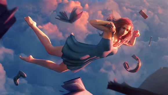 Обои Девушка в платье парит в небе среди вещей, by WojtekFus