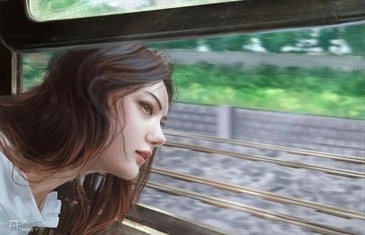 Обои Девушка высовывает голову из окна поезда, by jennyshiii