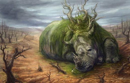 Обои Девочка дарит шарик огромному носорогу, by Abend86