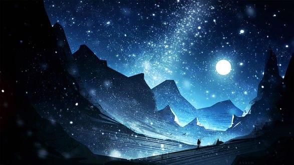 Обои Путник в заснеженной долине ночью, by kvacm