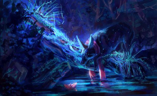 Обои Существо наблюдает за бумажным корабликом на воде, by AlaxendrA
