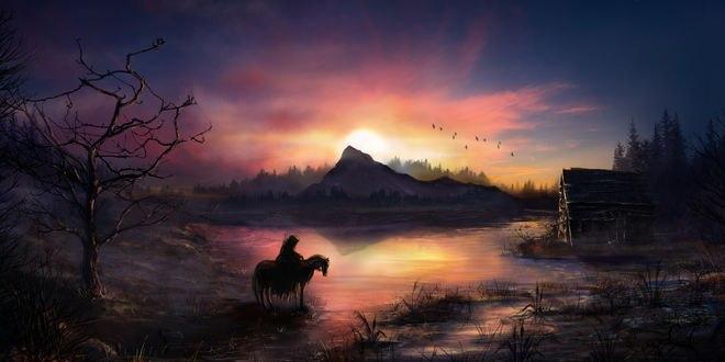 Обои Путник на коне возле небольшого озера, by TamikaProud