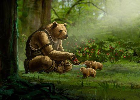Обои Медведь в одежде кормит лесных зверьков ягодами